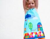 Girls dress in rainbow digital print