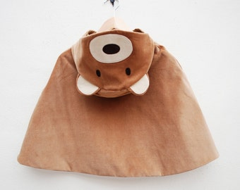 Teddy Bear cape dress up jacket in toffee velvet