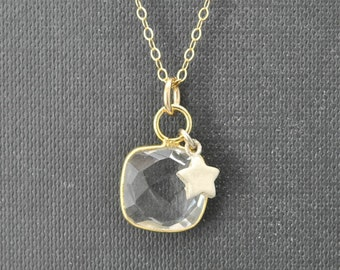 Quartz Necklace, 14k Gold Filled Chain, Bezel set Necklace, Gemstone Necklace, Quartz pendant
