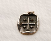 Jerusalem cross necklace, Wax Seal Pendant, Fine Silver Necklace