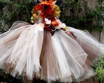 Earth fairy fall flower girl tulle dresses,photo prop,new born and toddler photography,weddings, first birthday,feather dress