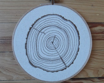 """Embroidery hoop """"slice of time"""" tree trunk, nature, magic, wicca"""