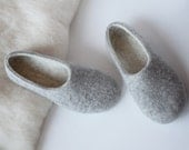 Felted organic wool slippers for woman-wool slippers-felt wool house shoes-eco friendly-grey and white- gift for her
