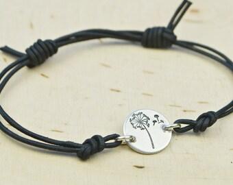 Dandelion Wish Leather Adjustable Bracelet- Hand Stamped Sterling Silver Filled Bracelet- Black or Brown Leather