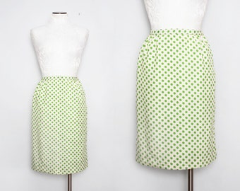 Vintage 50s Polka Dot Skirt / 1950s Cream & Green Pencil Skirt / Small