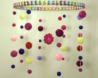 Colorful flowers and balls girl mobile/baby/purple,pink,yellow,green/pearl,circles