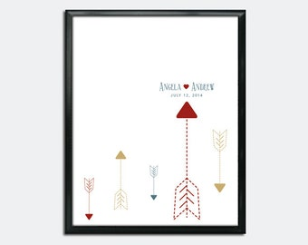 Wedding Guest Book Poster PDF - Cupid's Arrow - Personalized Printable