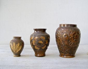 3 Vintage 1970s stoneware vases, Classic 70s Brown Handcarved Artisan Ceramic Floral Table Vase Set, Retro pottery Rustic Cottage chic Decor