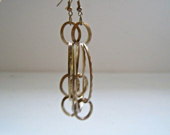 Retro Boho Multi Hoop Earrings, Vintage brass long Dangle Earrings, Trendy Jewelry, 70s Style Hippie fashion, Bold Statement Golden Earrings