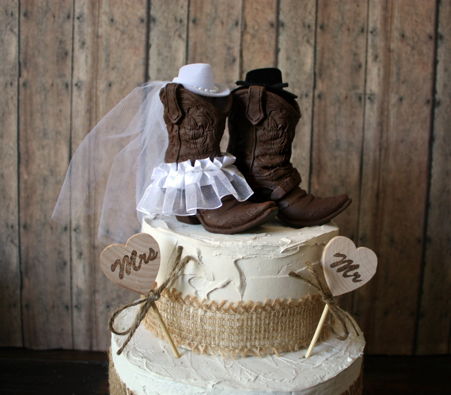 Cowboy Cowgirl Wedding Ideas: Western Cowboy Boots Wedding Cake Topper-western