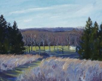 Original Landscape Oil Painting Purple Rolling Hills New Jersey