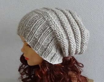 Knit Hat Slouchy women hat for Women Knit Slouchy Beanie Knit oatmeal Hat Chunky Knit Winter Fall Accessories Slouchy Knitted Women's beanie