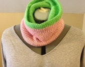 Pretty Girl Cowl - Double Knit Reversible Cowl in Pink and Green