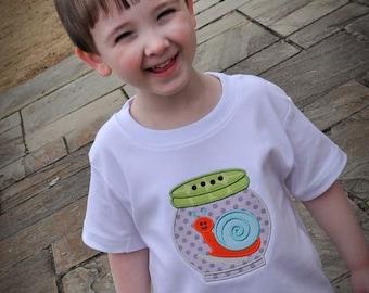 Snail Applique Shirt, Bug Shirt, Boys Applique Shirt, Little Boy Shirts
