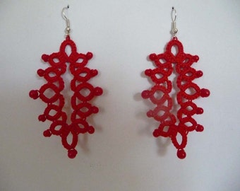 Tatting lace Earrings red-dangle earrings-gift for women-gift for her- party cocktail-gift for birthday-vintage style-lace earrings- SALE