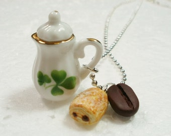 Coffee Pot Pendant.  Polymer clay