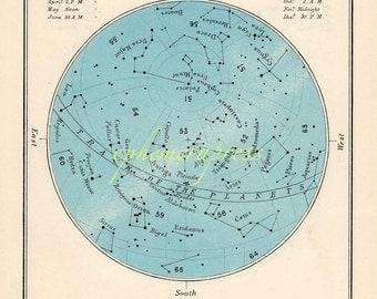 november celestial glorious vintage map print