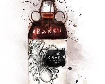 Release the Kraken, Watercolour giclée Print