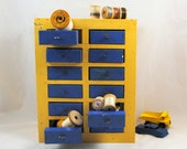 Vintage Painted Wooden Chest , Handmade Box , Metal Drawers , Rustic Storage Container , Organizer , Yellow and Blue Display , Rustic Cabin