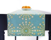 Turquoise Table Runner, Yellow  Table Runner Turquoise,  Ocean Table Runner 60 inch, 72 inch, 96 inch, 108 inch, 120 inch long