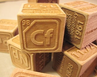 Actinides Wooden Blocks (set of 15)