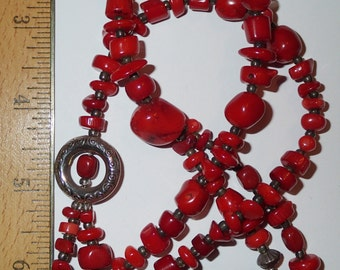 Long 2 strand Natural Coral Necklace with Lots of Sterling Silver Beads
