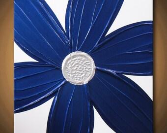 Blue Painting Flower Royal, Navy, Indigo Very Light Silver Pearl White, 24x24 High Quality Original Sculptural Modern Fine Art