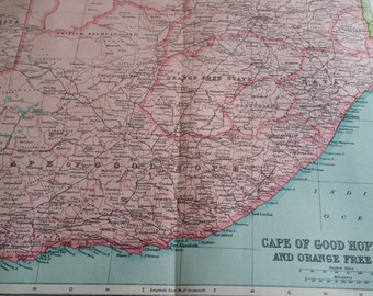 Large 1922 CAPE Of GOOD HOPE, South Africa Antique map, vintage original