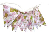 Vintage Wedding Bunting - Retro  Pink / Green Floral & Doily Lace, Floral Flag.  HANDMADE . Kitchen High Tea Party . Engagement Pennent