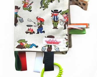 Taggy Snuggly MINI TAG TOY Blanket  . Baby Comforter Blankie Comforter for boys. Boys Baby Gift - Cowboys  Retro print