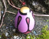 """Lavender Purple Flower with Gold Center Painted 1.5"""" Maple Wood Egg"""