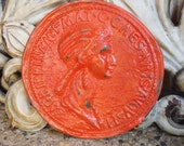 Funky Decor, Kitsch, Orange Funky Wall Art, Roman Female Medallion, Wall Hanging, Quirky Decor,