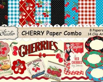Vintage, Retro Cherries Digital Paper Pack, Cherries Clip, Art,  Printable paper, digital Download, Scrapbook clip art, Cards, Tags, Labels