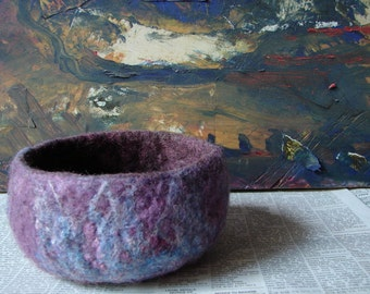 Small Felted Bowl in Purple and Maroon