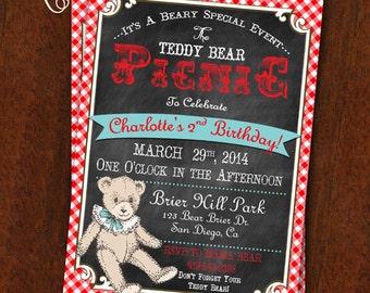Teddy Bear Picnic Invitation Chalkboard & Red and White Gingham Teddy Bear Picnic Party Teddy Bear Printable Invitation 5x7