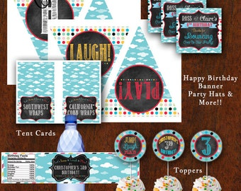 Birthday Party Jump House Party Pack Bounce House Favor Tags Water Bottle Wraps Cupcake Toppers & More! Printable Boy Girl Combined Party
