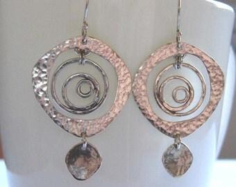 Sterling silver dangle earrings , 925 Hammered earrings , Asymmetric silver earrings , Handmade by Adi Yesod
