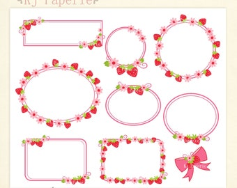 frames Clip Art, Strawberry frame,girl frames Clip art, scrapbooking,label clip art,cute pink tag, instant download