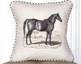 "shabby chic, feed sack, french country, vintage horse graphic with ticking stripe welting 14"" x 14"" pillow sham."