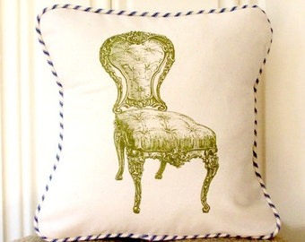 "shabby chic, feed sack, french country, vintage chair graphic with french ticking welting 14"" x 14"" pillow sham."