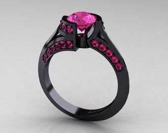 Modern French 14K Black Gold 1.0 Ct Pink Sapphire Engagement Ring Wedding Ring R376-14KBGPS