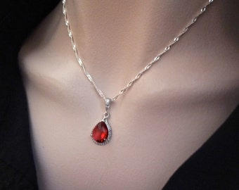 Bridal jewelry - Red - Sterling Silver Necklace -Teardrop Rhinestone - Ruby Red - Julys birthstone - Bridesmaids - Birthday - Gift