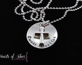 Hand Stamped Jewelry - Hand Stamped Necklace - Cross Neclace - Sterling Silver Charm Necklace
