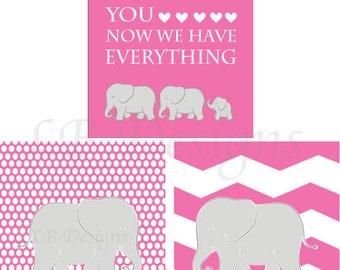 Girl Elephant Nursery Prints, Pink Elephant Decor, Girl Nursery Decor, Pink and Gray Nursery Art, Girl Elephant Bedroom, Gift for Baby 8x10s