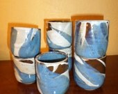 Set of Seven Stoneware/HAND MADE CUPS/Signed/Dated/Perfect Condition