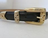 Belt,Leather Black Belt,Embossed Leather Belt,Gold Plated Buckle,Waist 29 1/2 to 33 1/2 inches..