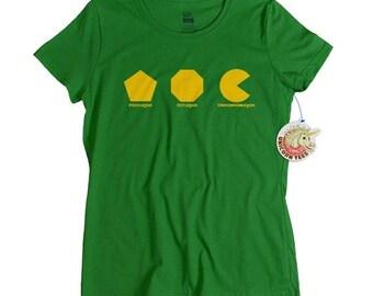 Womens geek tshirt Omnomnomagon geekery geometry math video game t shirt om nom omnom nom shirt ladies geeky gift girlfriend