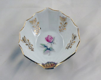 Vintage Scooped Leaf Shape Trinket Dish with Pink Rose and Gold Accents