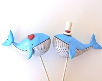 Nautical Whales in Love wedding cake topper for your beach wedding
