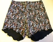 Maisie  floral  silk touch lycra high waisted shorts